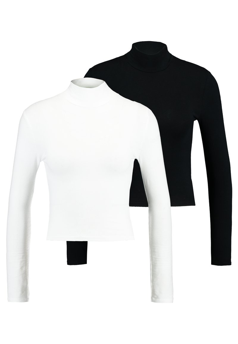 Topshop - FUNNEL 2 PACK - T-shirt à manches longues - black/white