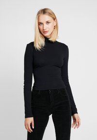 Topshop - FUNNEL 2 PACK - T-shirt à manches longues - black/white - 2