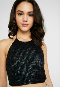 Topshop - MIDNIGHT SEQUIN HALTER - Top - black - 3