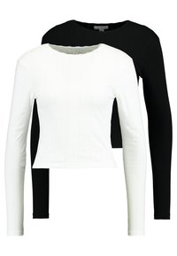 Topshop - POINTELLE 2 PACK - Long sleeved top - black/white - 0