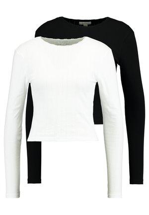 POINTELLE 2 PACK - Long sleeved top - black/white