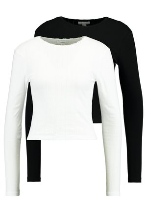 POINTELLE 2 PACK - Top sdlouhým rukávem - black/white