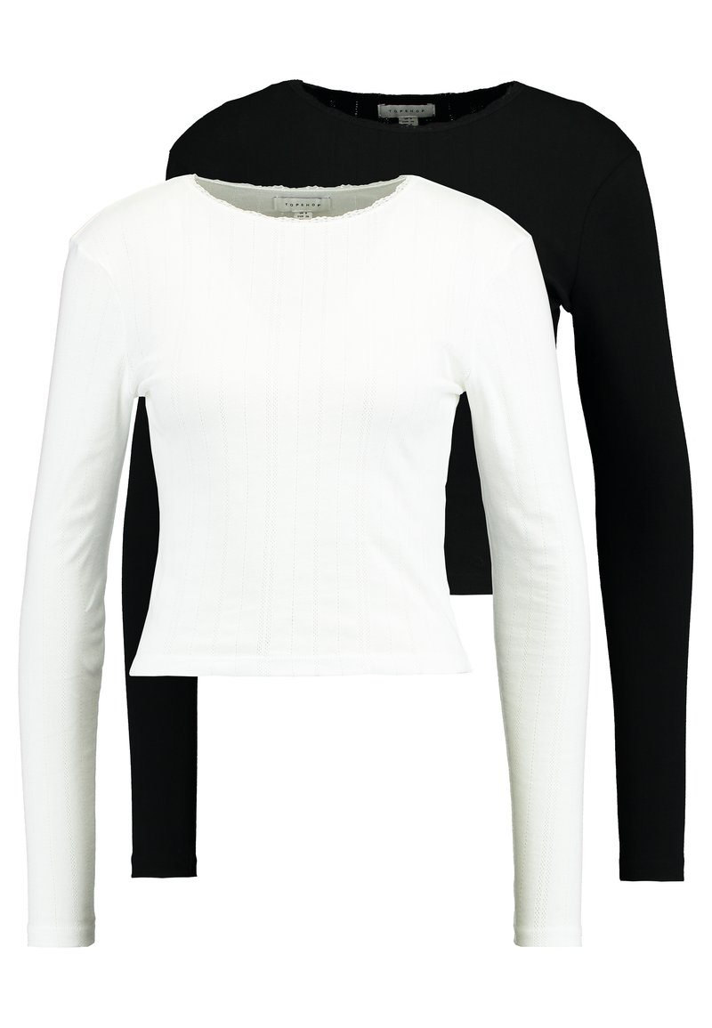 Topshop - POINTELLE 2 PACK - Langarmshirt - black/white