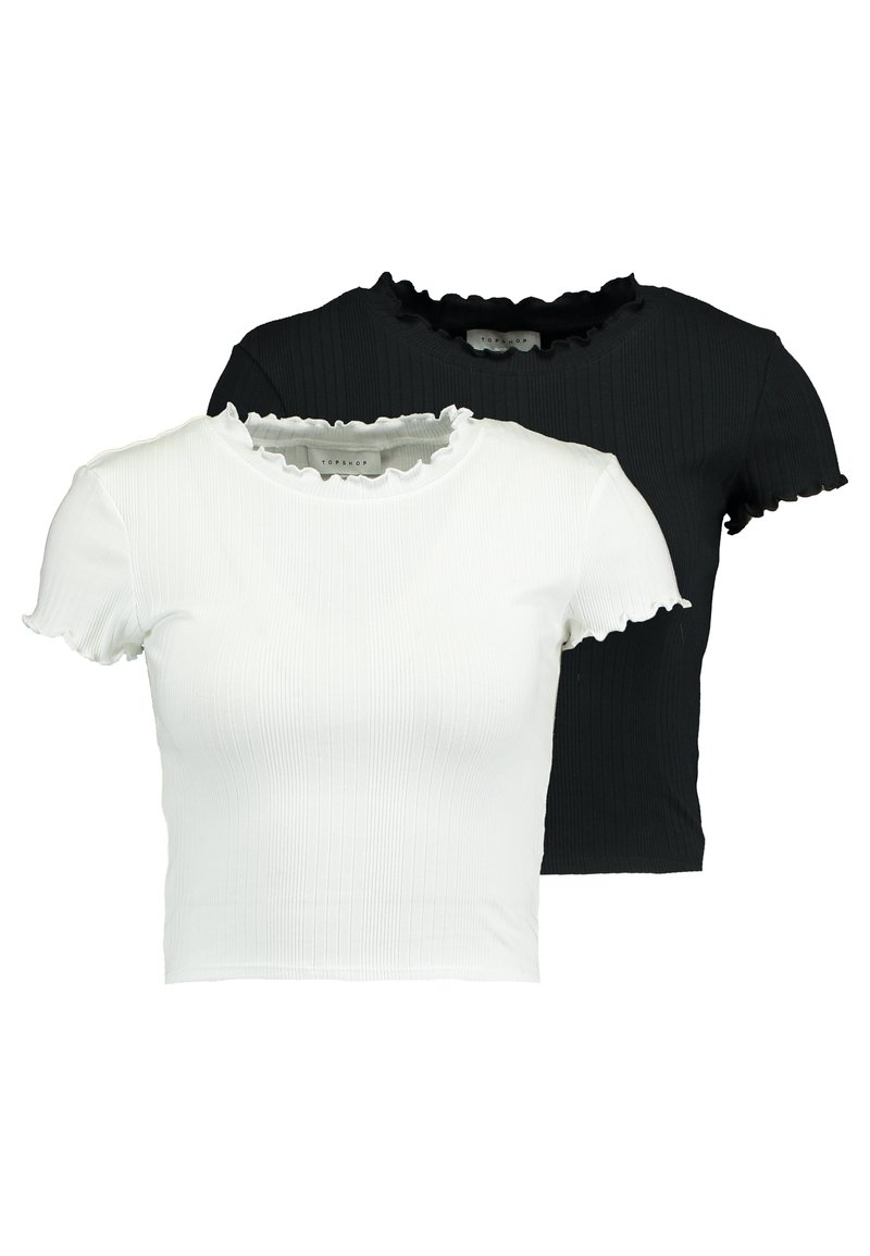 Topshop - LETTUCE TEE 2 PACK - T-shirt basic - black/white