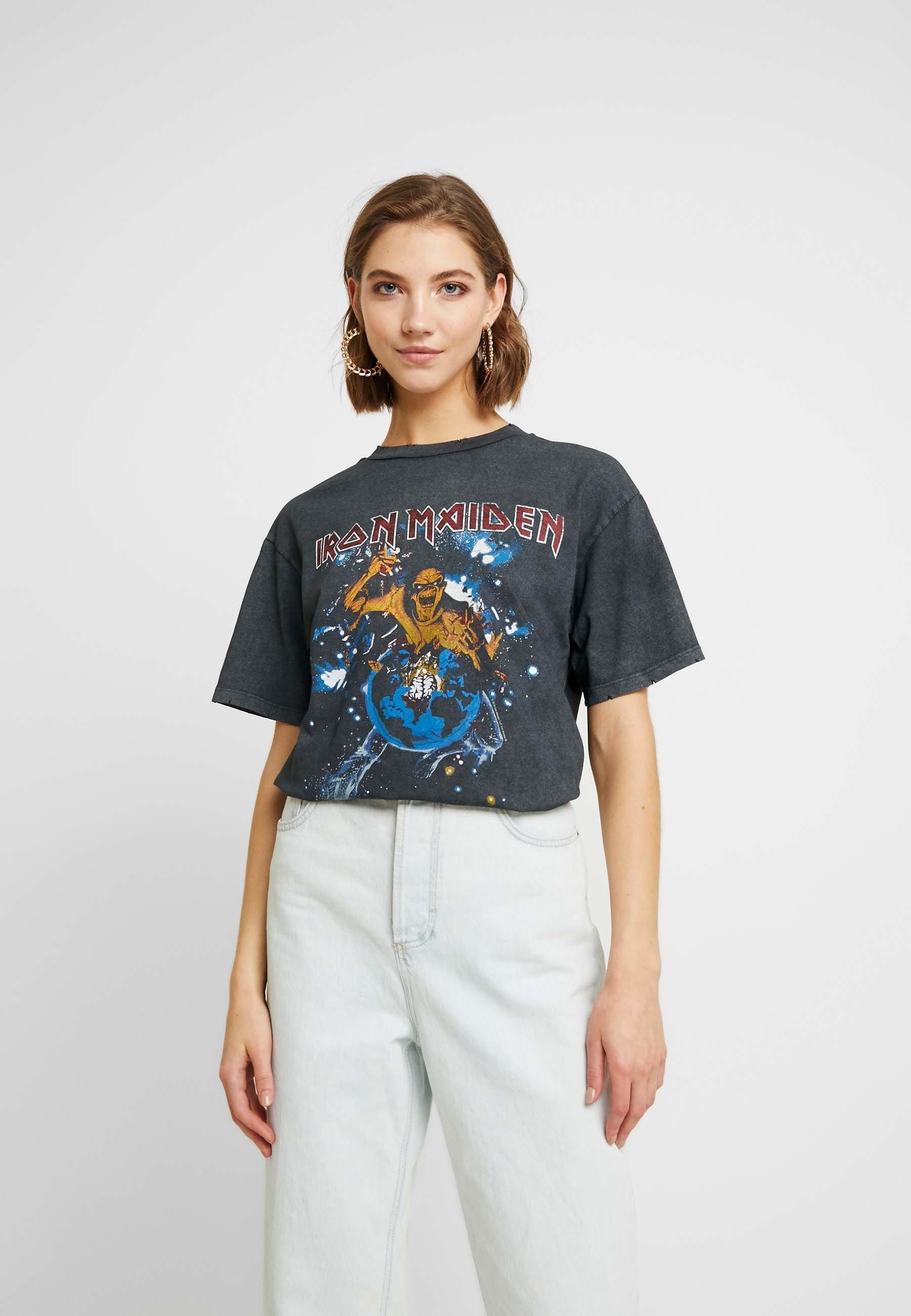 Topshop IRON MAIDEN - T-shirt z nadrukiem - black