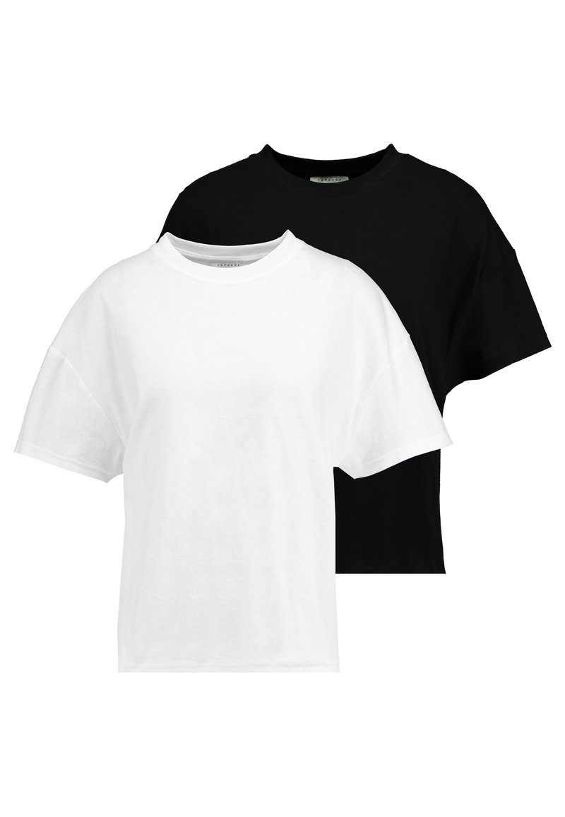 Topshop - WEEKEND TEE 2 PACK - Camiseta básica - black/white