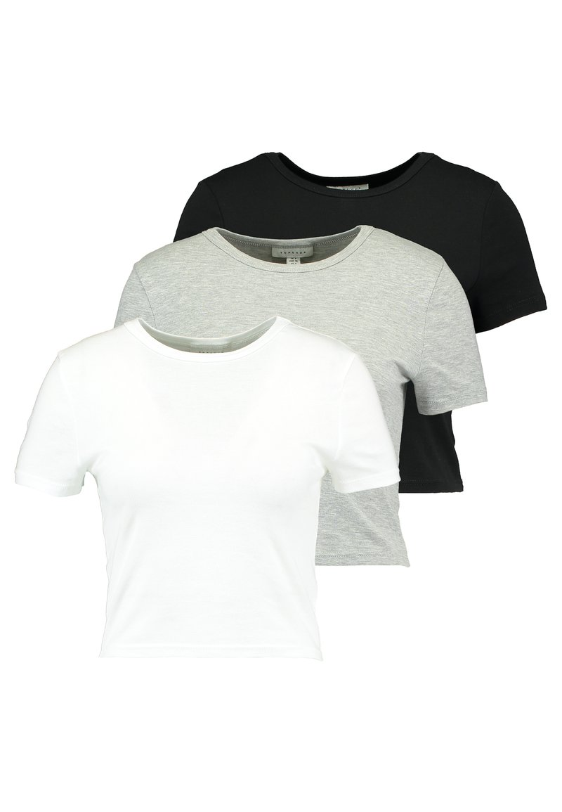 Topshop - EVERYDAY TEE 3 PACK - T-shirt imprimé - black/white/grey