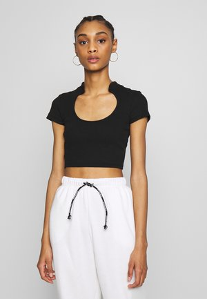 RIB CUT OUT TOP - T-Shirt print - black