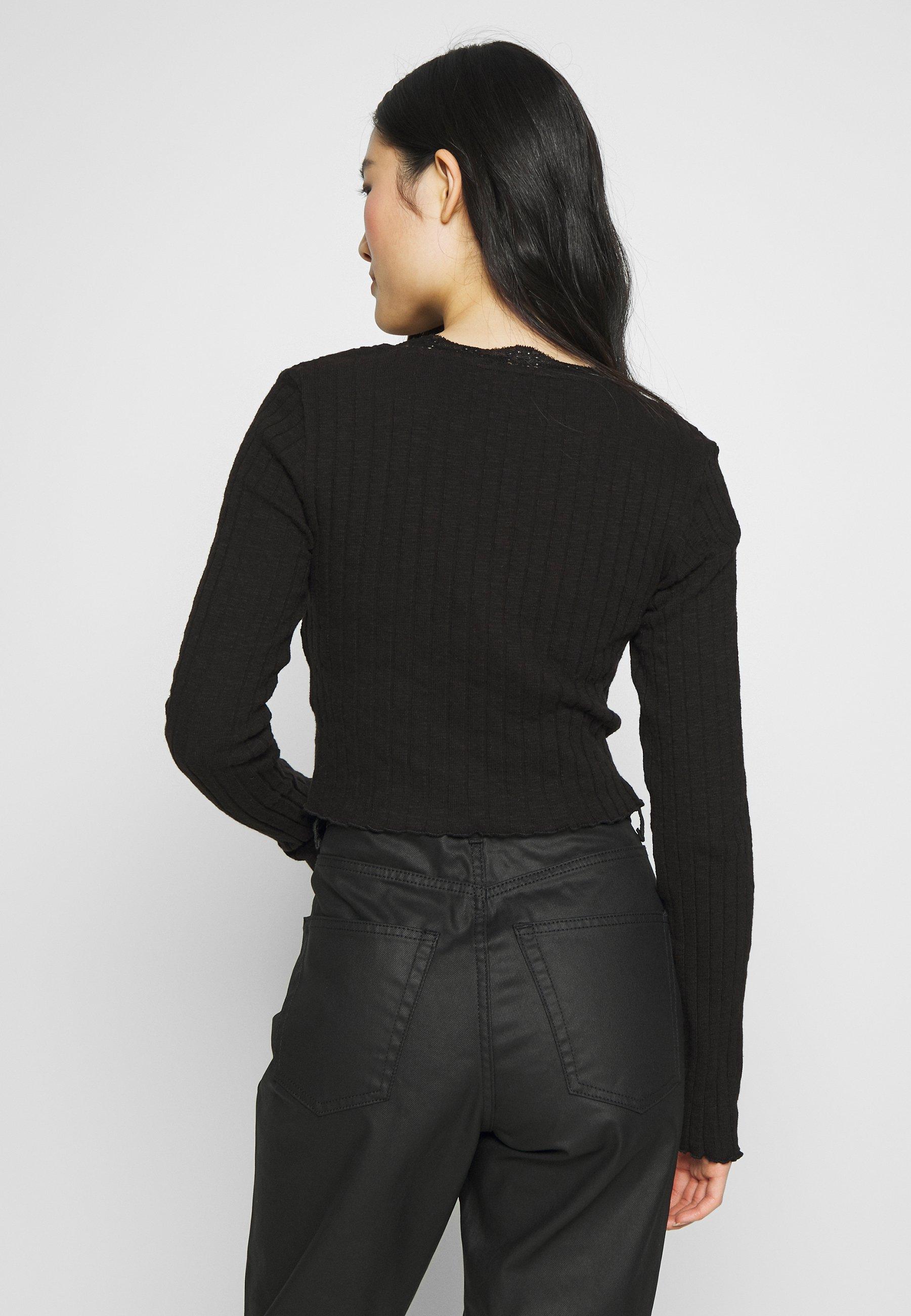 Topshop Cardi - T-shirt À Manches Longues Black