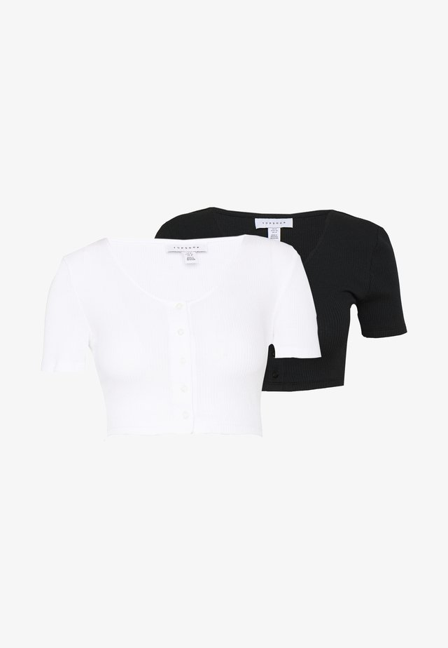 SUPER CROP BUTTON 2 PACK - T-shirt - bas - black/white
