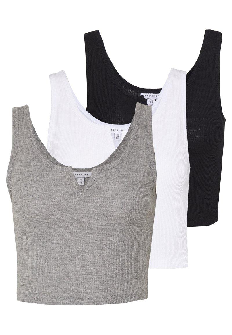 Topshop - 3 PACK - Débardeur - black/white/grey
