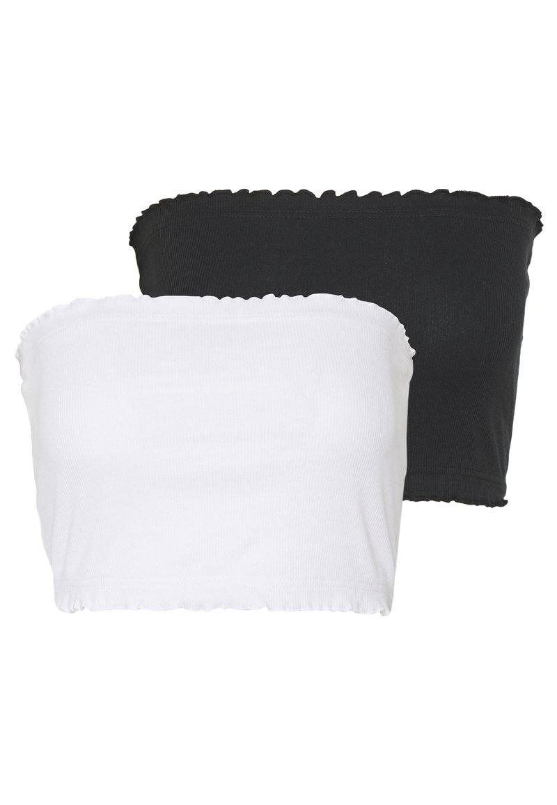 Topshop - LETTUCE BOOBTUBE 2 PACK - Débardeur - black/white
