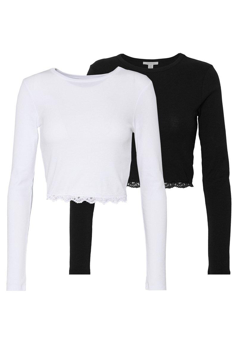 Topshop - 2 PACK HEM - Camiseta de manga larga - black/white