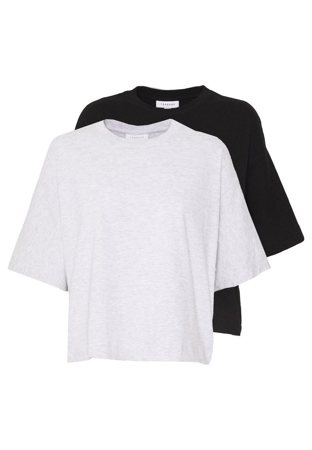 2 PACK PANEL BOXY TEE - T-shirt - bas - black/grey