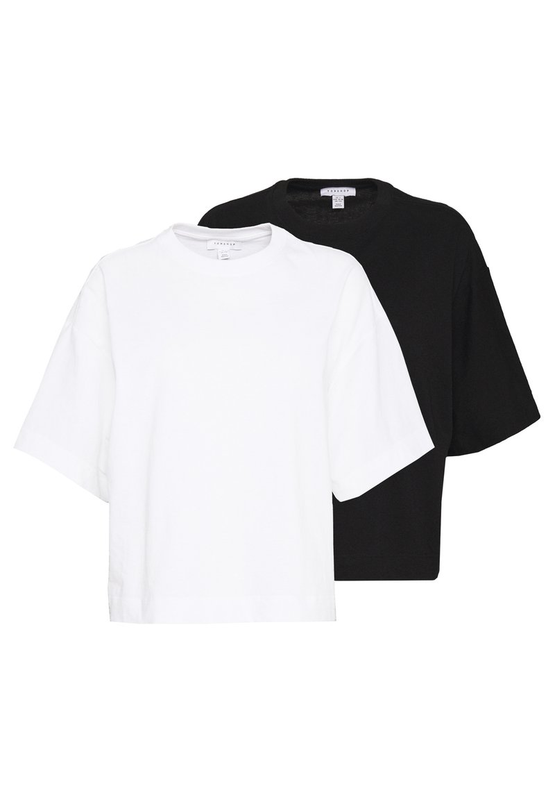 Topshop - PANEL BOXY TEE 2 PACK - T-shirt - bas - black/white