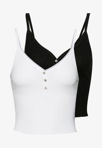 Topshop - POINTELLE VEST 2PACK - Linne - black/white - 0
