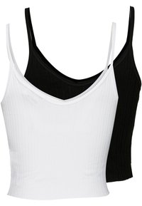 Topshop - POINTELLE VEST 2PACK - Linne - black/white - 1