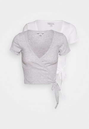 BALLET WRAP 2 PACK - T-shirt imprimé - grey/white