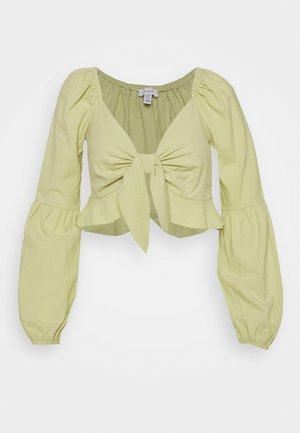 PUFF SLEEVE FRILL TOP - Pusero - lime