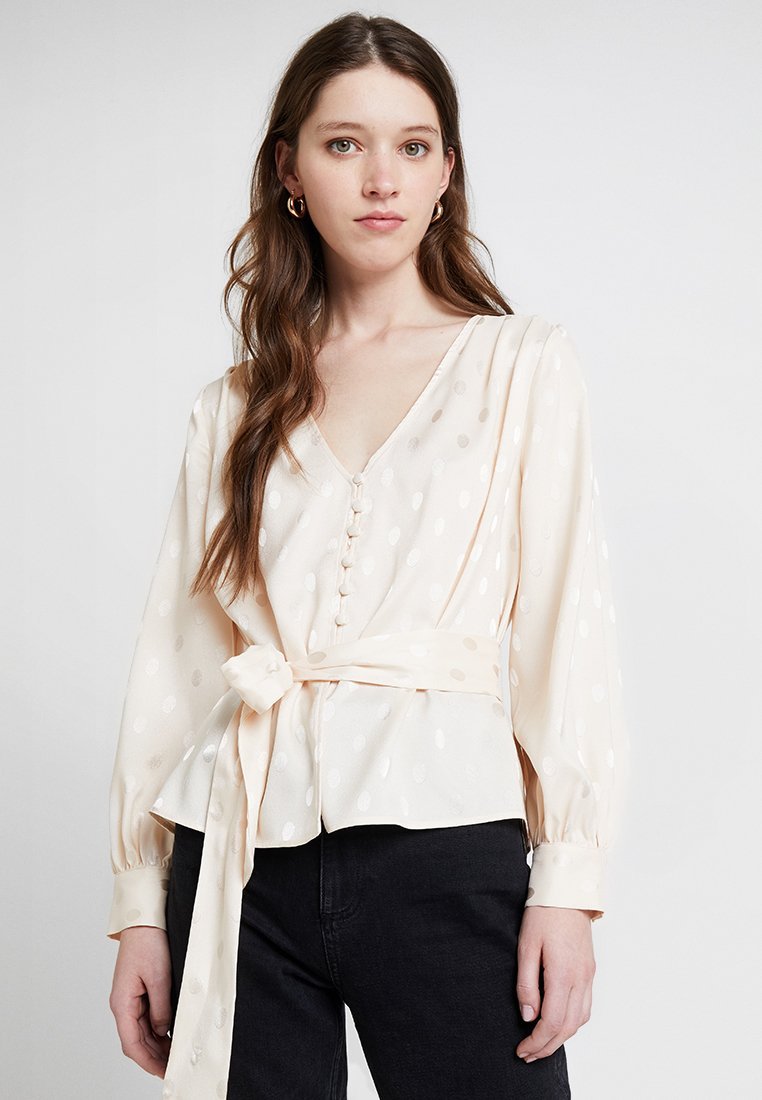 Topshop - SPOT BUTTON WRAP - Blouse - ivory