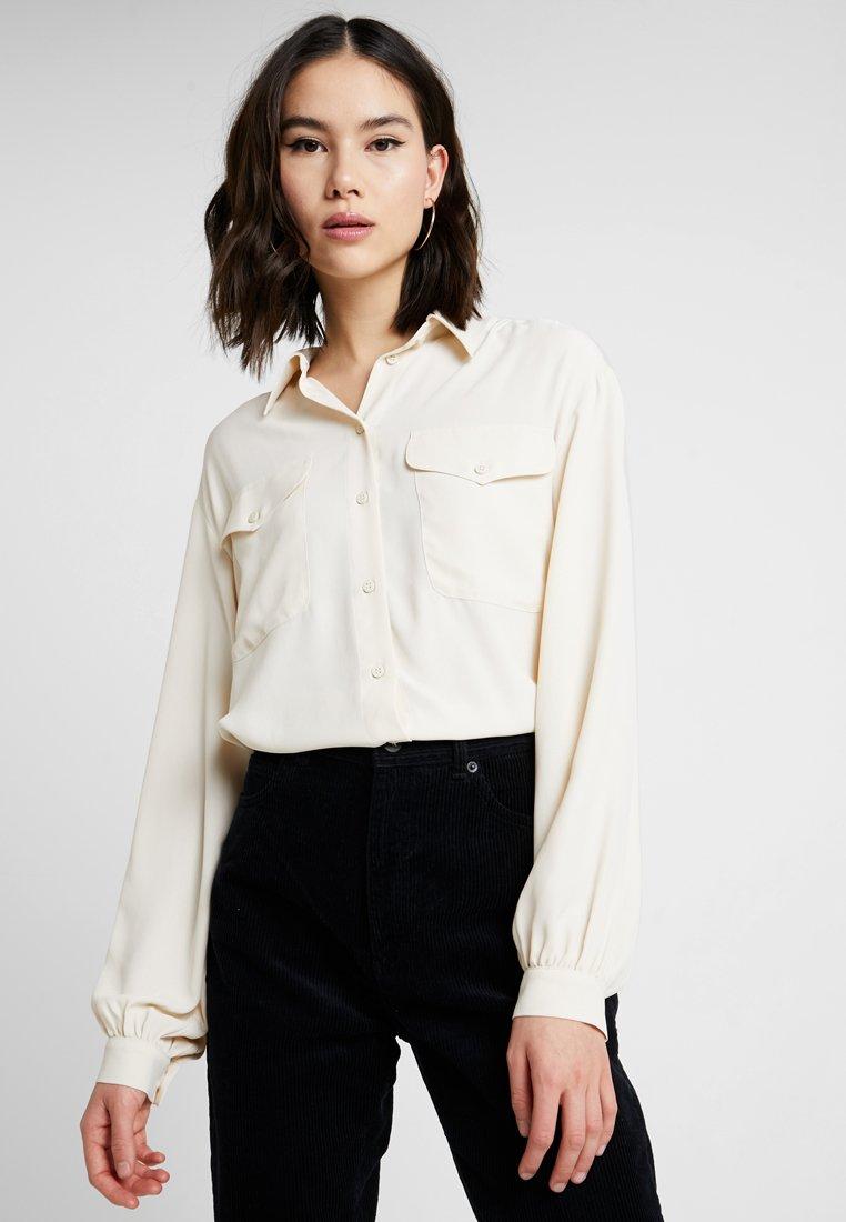 Topshop - PLAIN DOUBLE POCKET - Button-down blouse - ecru