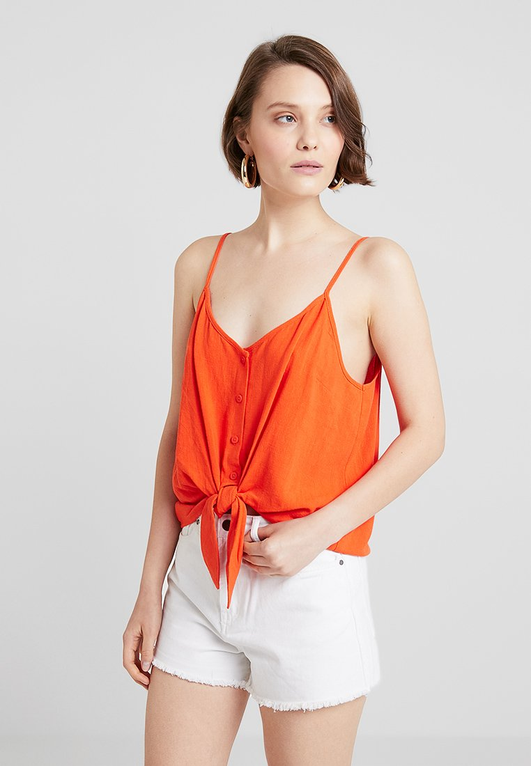 Topshop - POLY KNOT FRONT - Top - bright red