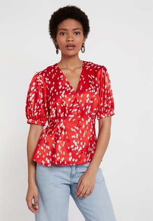 SPOT PRINTED PLEAT - Blouse - red