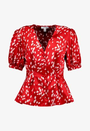 SPOT PRINTED PLEAT - Blůza - red
