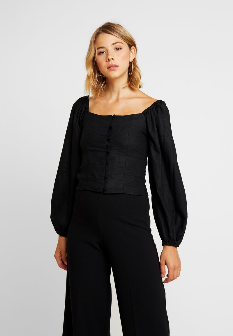 Topshop - BUTTON DOWN LONGSLEEVE - Bluse - black