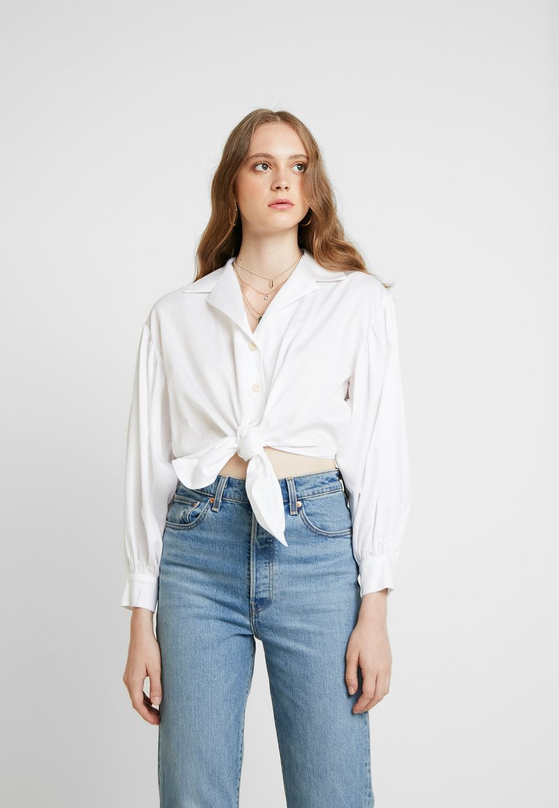 Topshop - POPLIN TIE FRONT - Bluse - ivory