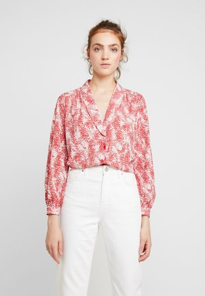 ANIMAL SCALLOP - Button-down blouse - red