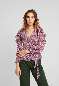 Topshop - DITSY FLORAL FRILL - Pusero - pink - 0