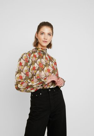 GATHERED NECK PRINT BLOUSE - Pusero - multicolor