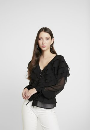 PLAIN RUFFLE LAYER - Blouse - black