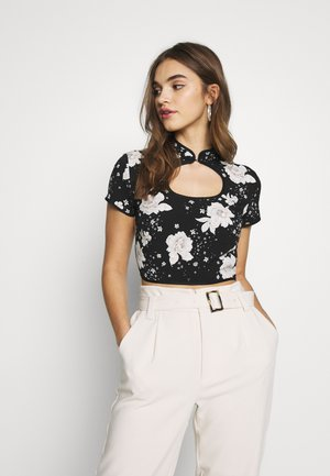 ORIENTAL KEYHOLE CROP - Blouse - black