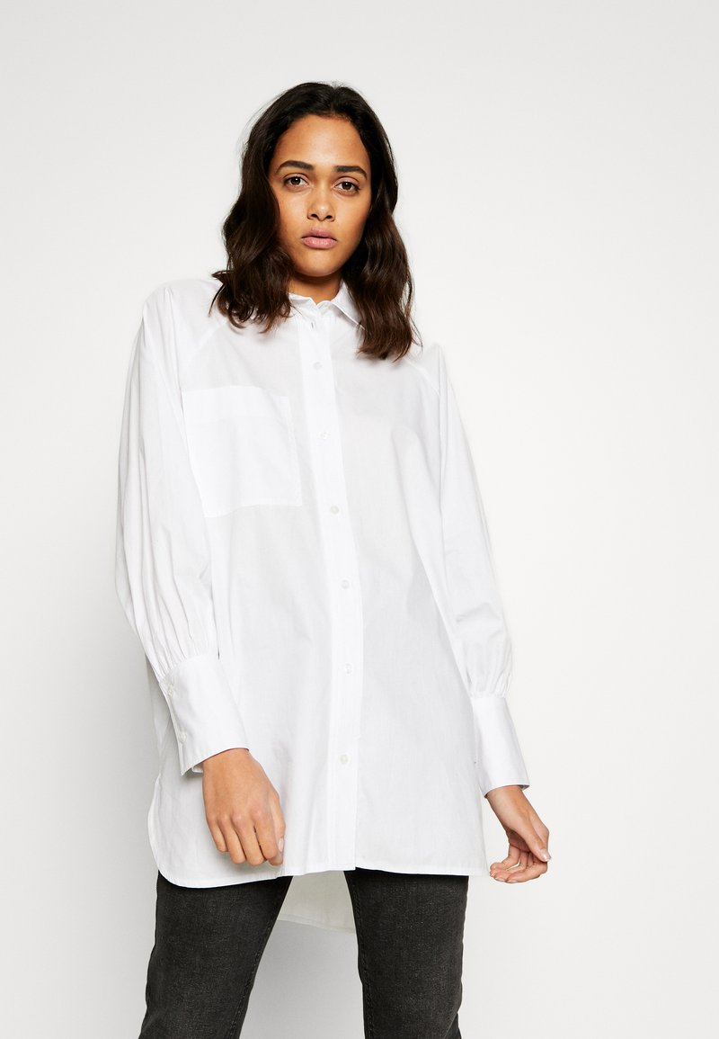 Topshop - OVERSIZED POPLIN UPDATE - Blouse - white