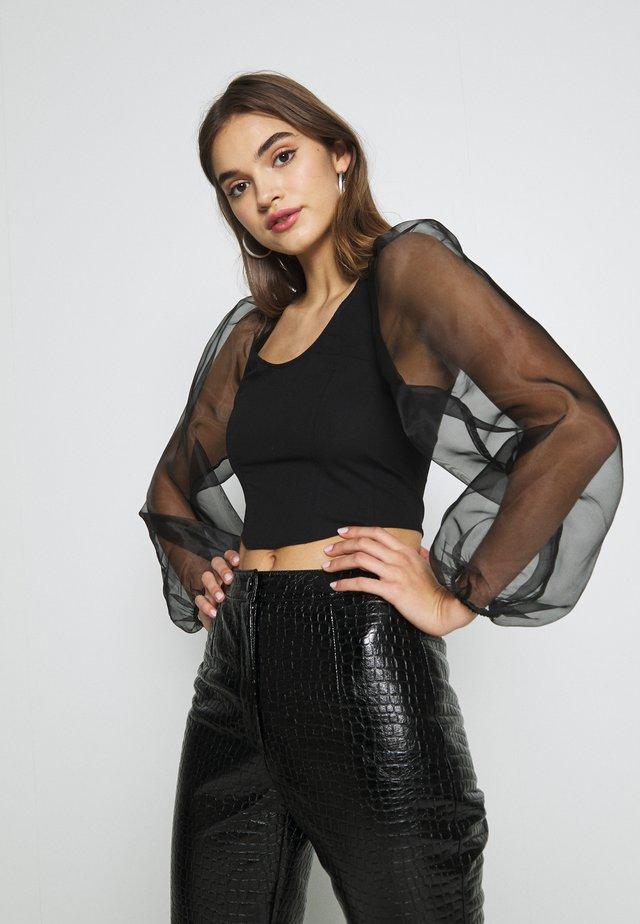 CORSET ORGANZA TOP - Blus - black