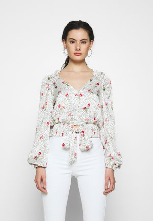 PRINTED TIE FRONT - Blouse - cream