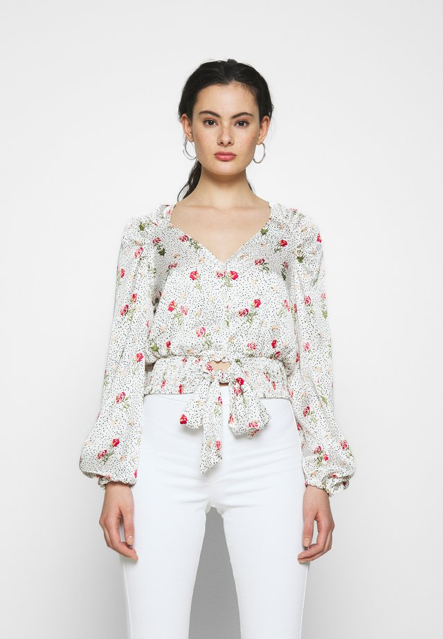 PRINTED TIE FRONT - Blusa - cream