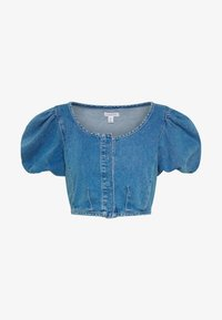 Topshop - STRETCH SELF BUTTON CROP - Camicetta - blue denim - 3