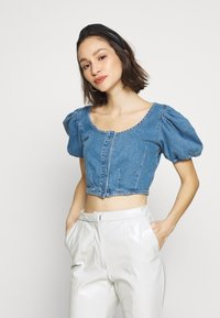 Topshop - STRETCH SELF BUTTON CROP - Camicetta - blue denim - 0
