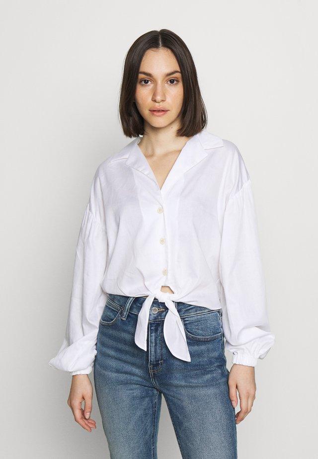 POPLIN TIE FRONT - Bluzka - white