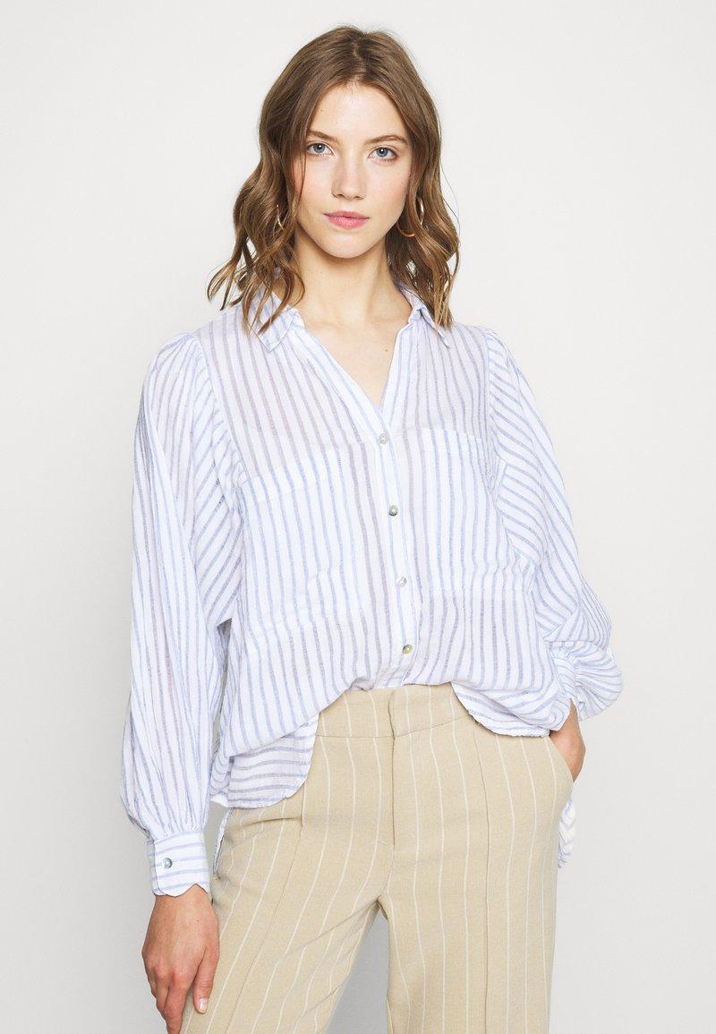 Topshop - STRIPE CASUAL - Button-down blouse - blue