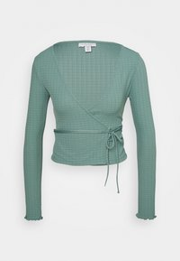 Topshop - TEXTRD BALLET WRAP - Long sleeved top - slate blue - 0