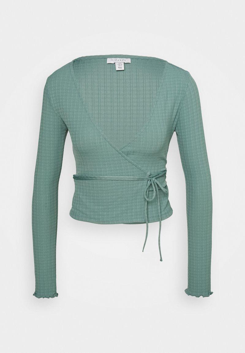 Topshop - TEXTRD BALLET WRAP - Long sleeved top - slate blue