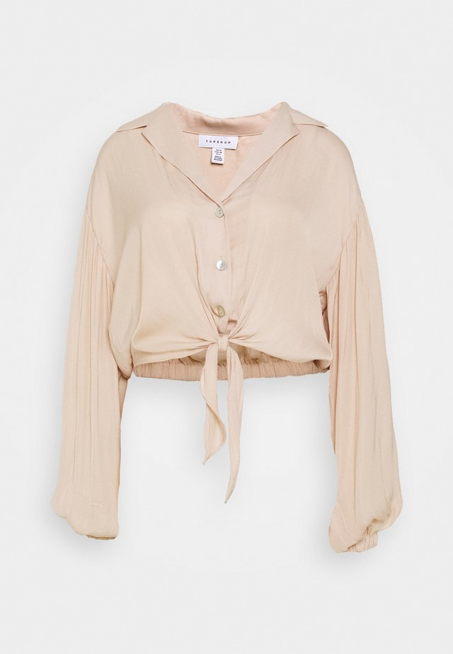 TIE FRONT - Blouse - champagne