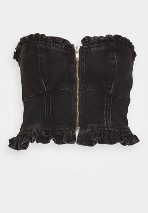 FRILL MILKMAID CORSET - Top - washed black