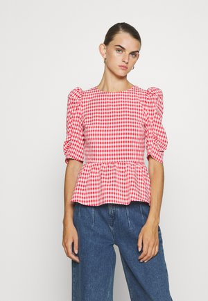 GINGHAM LACEUP PUFF SLEEVE - Bluser - red