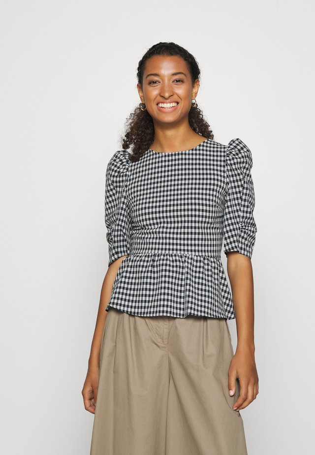 GINGHAM LACEUP PUFF SLEEVE - Bluser - navy