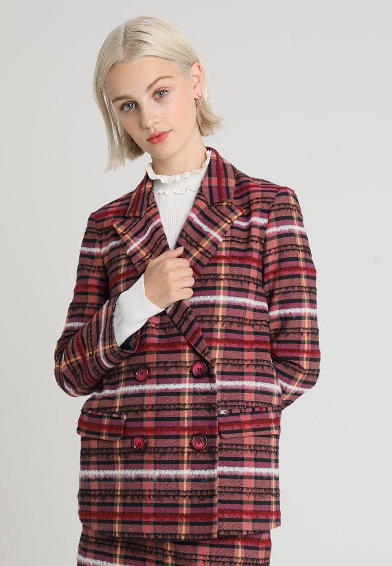 Topshop - HAIRY CHECK JACKET - Blazer - pink